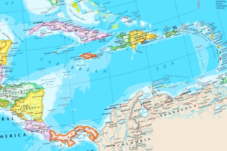 large detailed map of caribbean sea with cities and islands