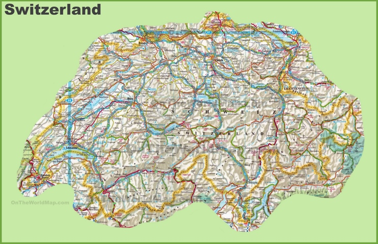 map with switzerland