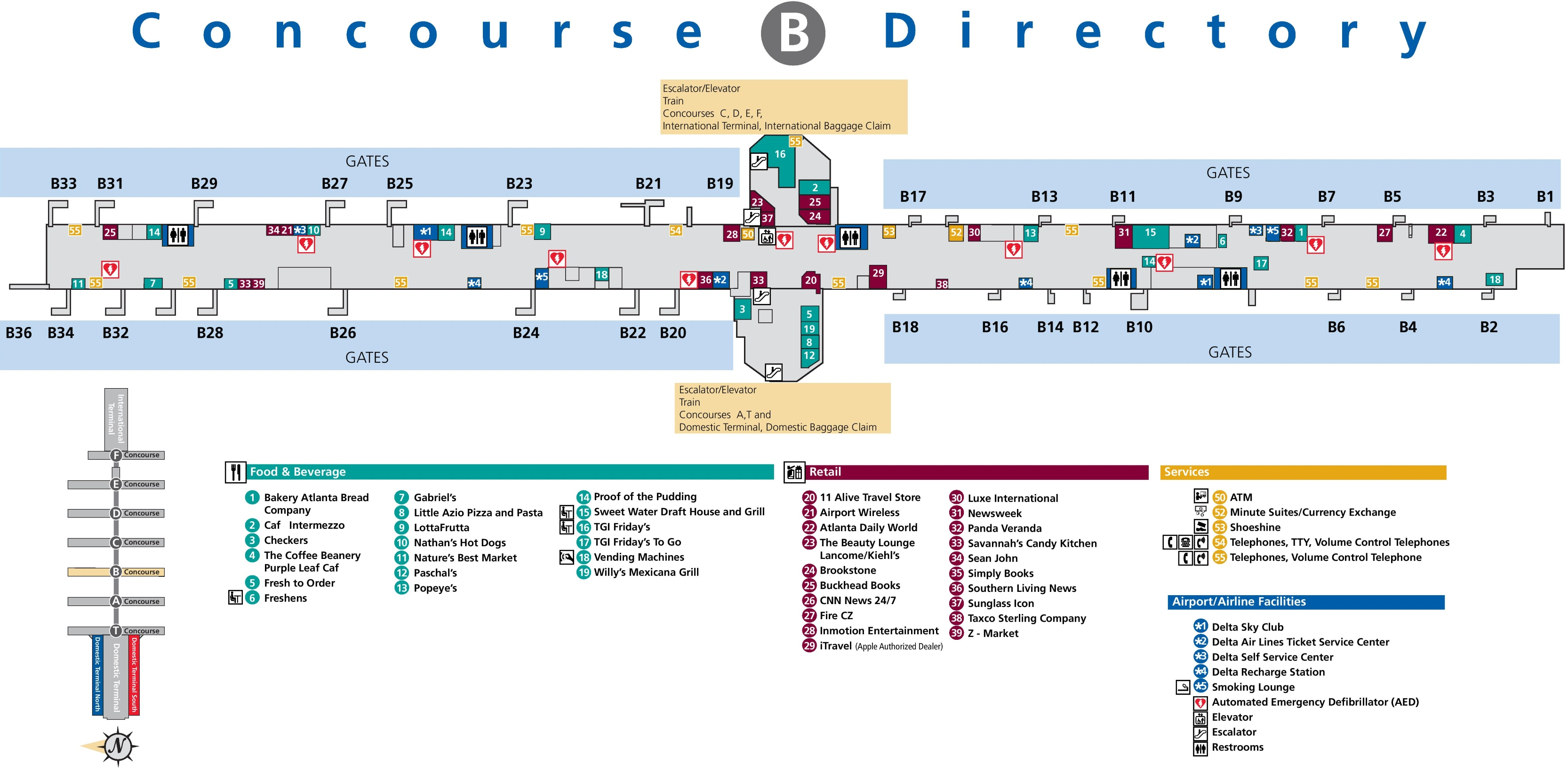Atlanta airport terminal b map on