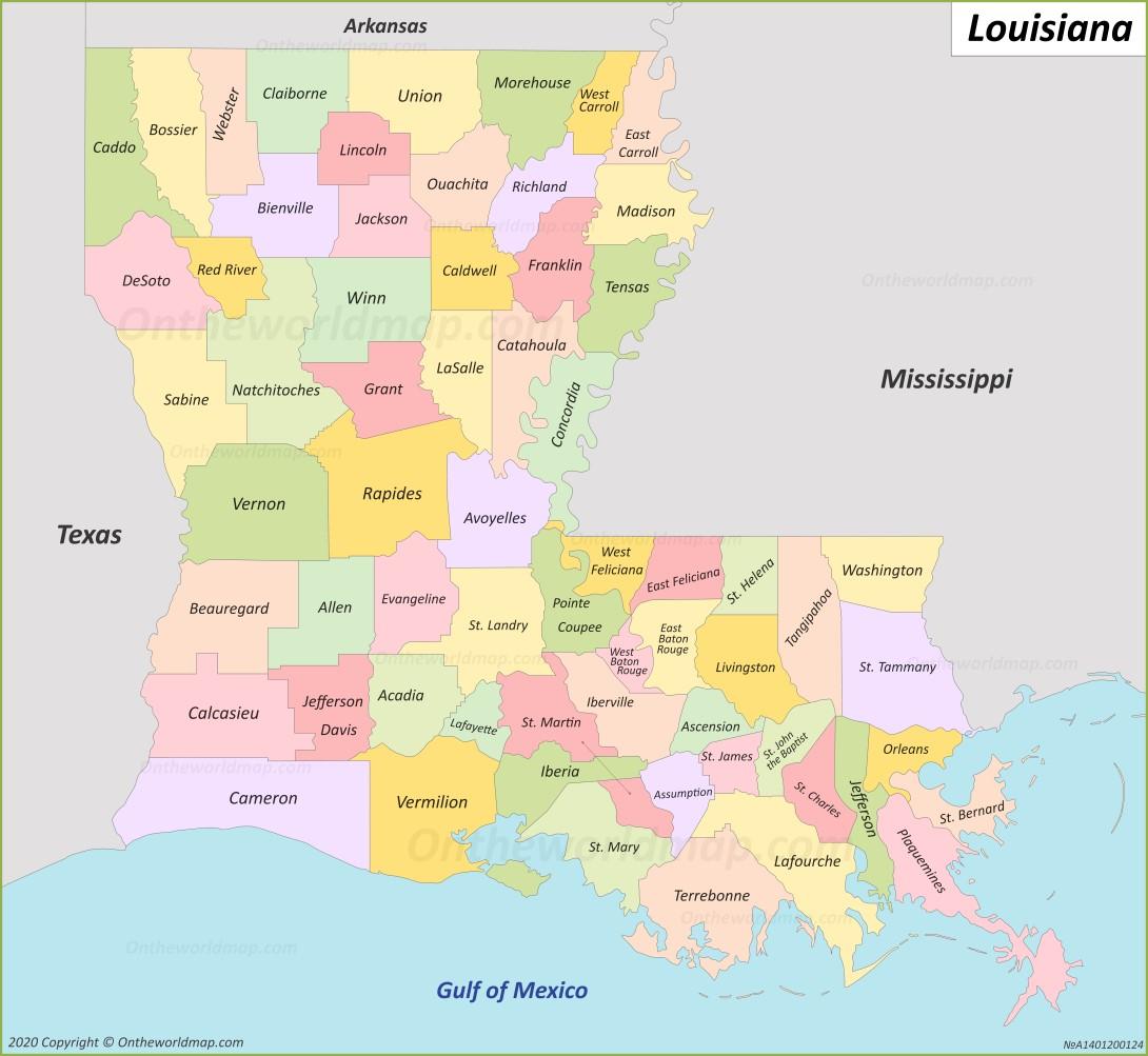 map to louisiana