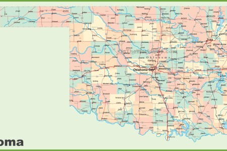 road map of oklahoma with cities