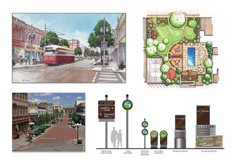 Collage of city planning images