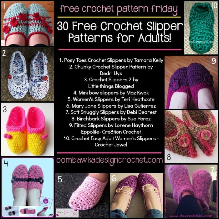 30 Free Crochet Slipper Patterns for Adults Oombawka ...