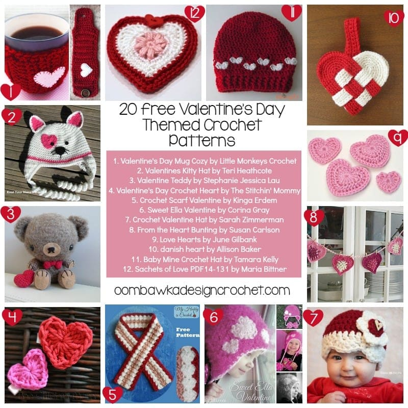 Valentines Day Themed Crochet Patterns @OombawkaDesign
