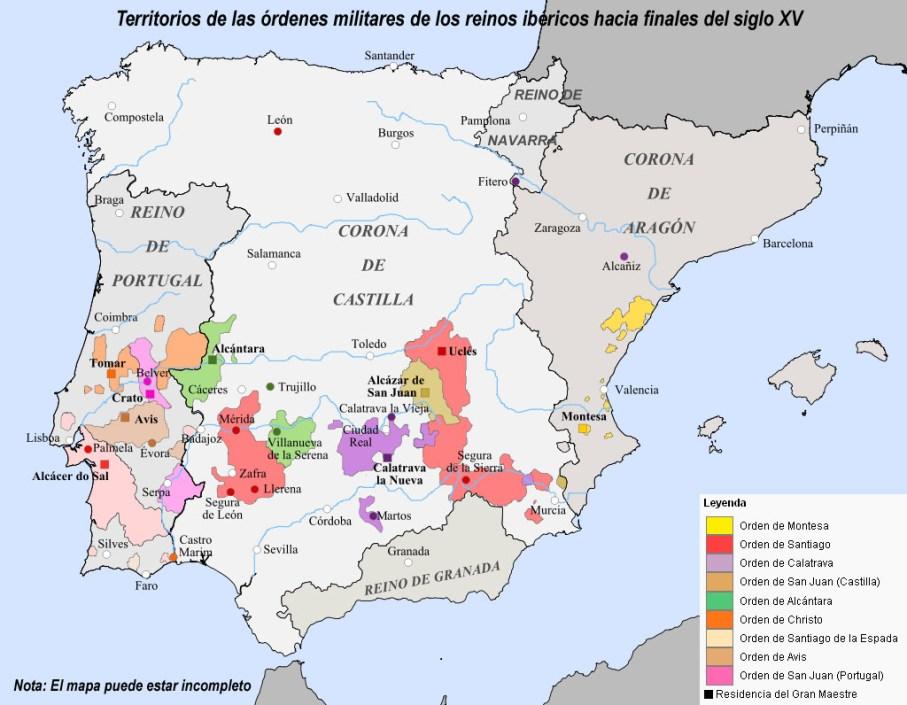 Territorios de las órdenes militares de los reinos ibéricos hacia finales del siglo XV