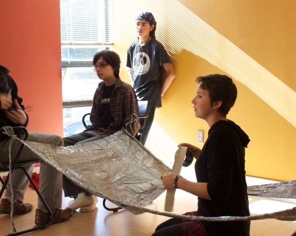 The duct tape class is creating a homemade hammock--made entirely out of duct tape!