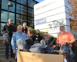 75 backpacks received to assist homeless veterans this winter from BASF ready for deliveries.
