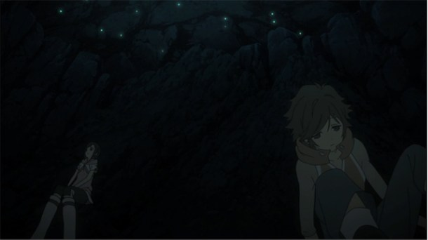 Shin Sekai Yori - Satoru and Saki in the cave.