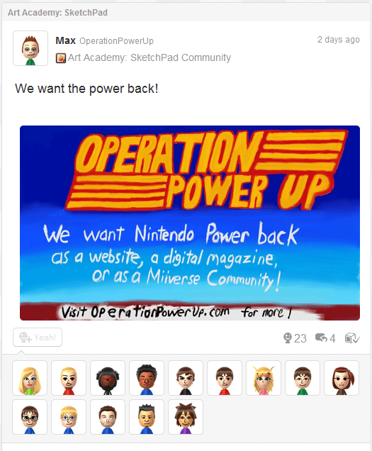 Showing off his artistic skills plus showing off people who would like to see Nintendo Power back!