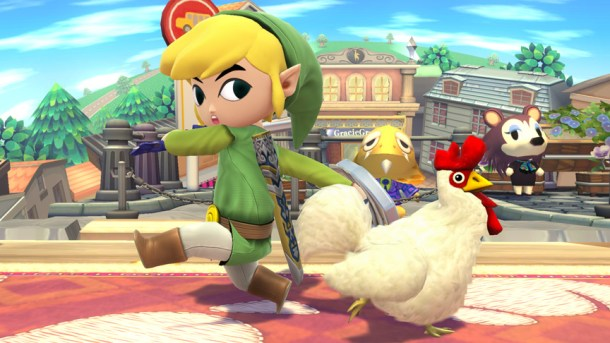 Toon Link and a Cuccu at Animal Crossing Stage - Smashing Saturdays | oprainfall