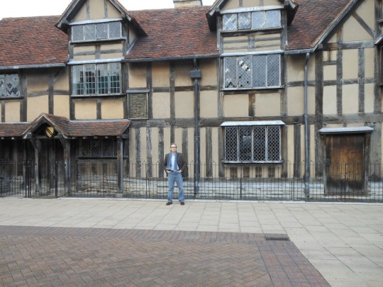 In front of Shakespeare's birthplace in Stratford-upon-Avon.