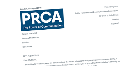 PRCA Complain to Carolyn Harris Over Lobbyist's Pass