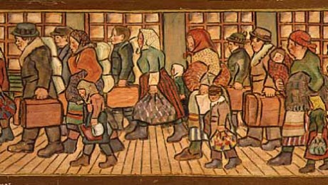 """Immigrants,"" 1930, Minnesota Historical Society, Painter: Peter Wedin (1894-1980). Creative Commons Attribution-SharAlike 2.0 Generic License."