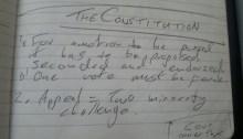 Handwritten notes on legislative procedure.