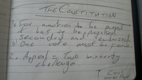 Handwritten notes on legislative procedure.
