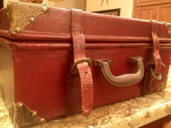 By combining this vintage suitcase (funny velvet covering inside)...