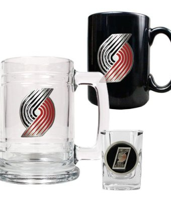 NBA-Portland-Trailblazers-15-Ounce-Tankard-15-Ounce-Ceramic-Mug-2-Ounce-Shot-Glass-Set-Primary-Logo-0