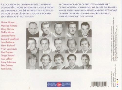 Série de timbres-poste, centenaire des Canadiens de Montréal, 2009