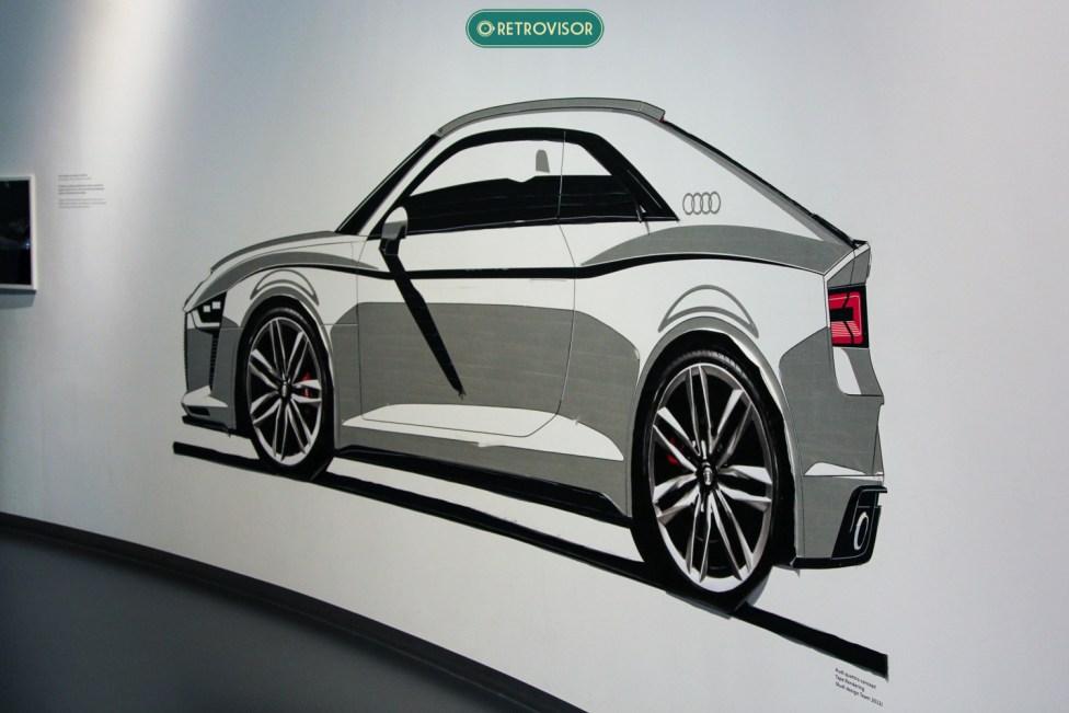 Desenho na parede do pavilhão da Audi