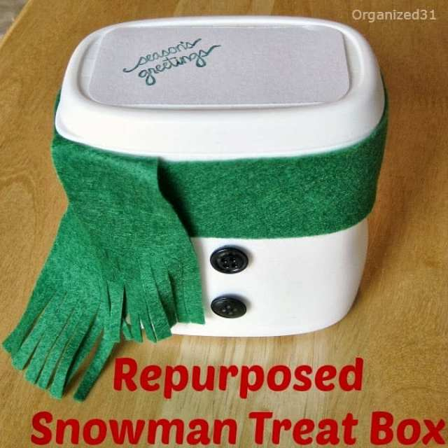 Repurposed Plastic Container Snowman Gift Treat Box - Organized 31