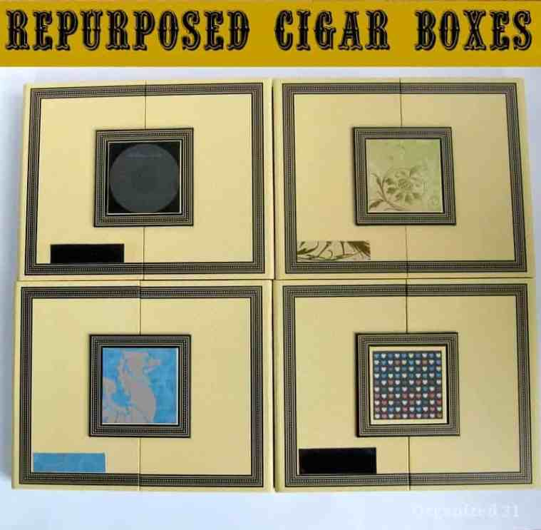 4 decorated yellow cigar boxes