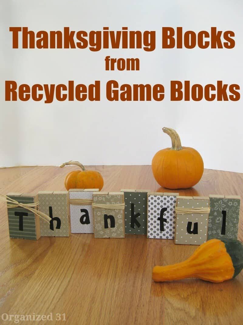 Thanksgiving Blocks from Recycled Game Blocks - Organized 31