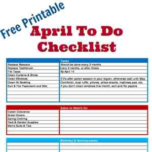 Free Printable April To Do Checklist - Organized 31