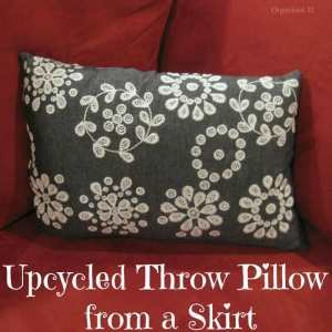 Use a beautiful upcycled skirt to make an easy throw pillow in less than an hour.