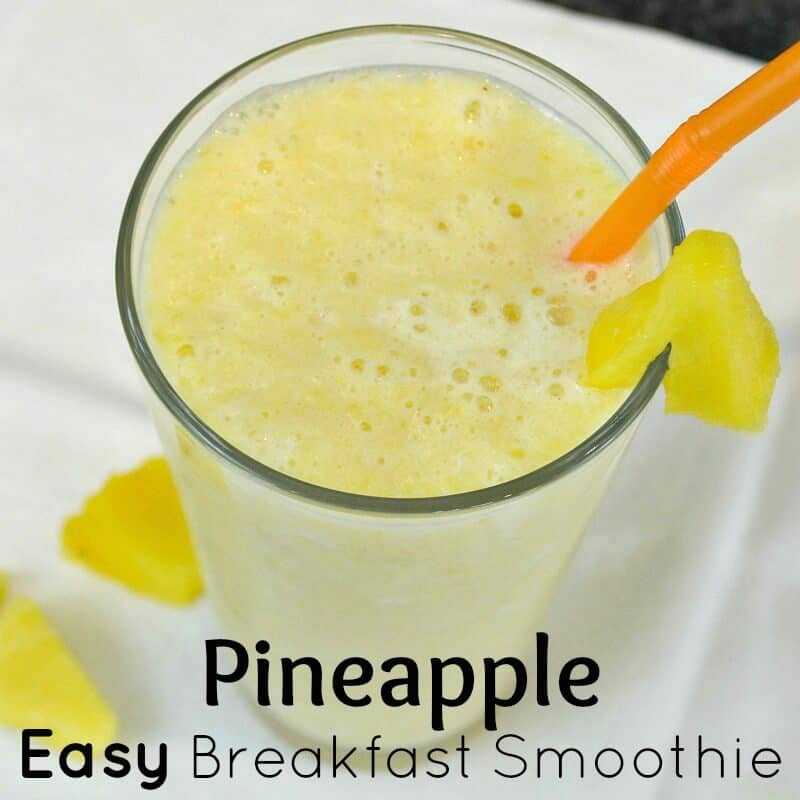 Make a Pineapple Easy Breakfast Smoothie for a nutritious breakfast option for a busy family morning. #CarnationSweepstakes #BetterBreakfast [ad]