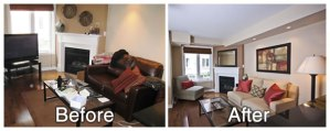 Livingroom Before and After Staging