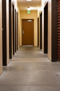 Storage locker hallway and doors