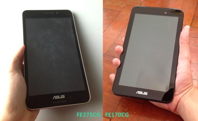 Asus Fonepad 7 FE375CG VS FE170CG front