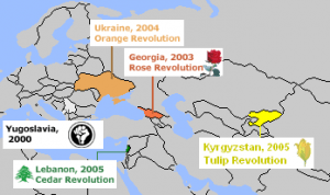 Map of Coloured revolutions