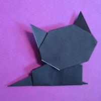 【折り方】ハロウィンの黒猫の折り方動画