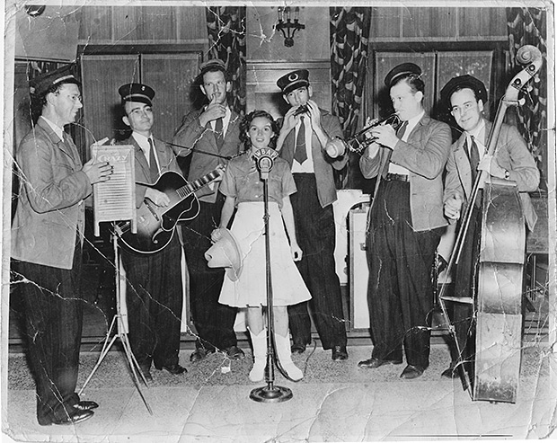 """Little Lorraine, the yodeling schoolgirl"" on Fort Worth radio station WBAP with the ""Washboard Swingsters"" (later known as the Crazy Gang)."