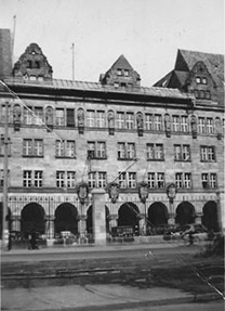 Site of Nuremberg trials in 1947; Lorraine attended nearly every day.