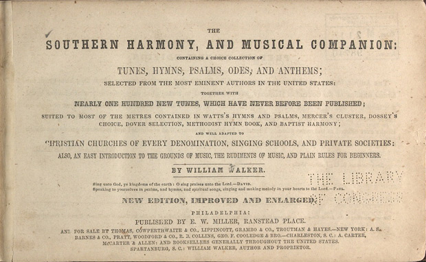 Title page of the Southern Harmony, and Musical Companion, 1847 edition. Courtesy of the Library of Congress.