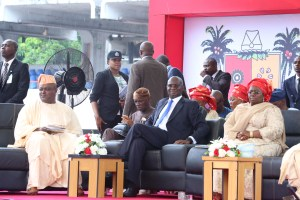 L-R: Speaker, Lagos State House of Assembly, Rt. Hon. Mudashiru Obasa; Minister Power, Works & Housing, Mr Babatunde Fashola; and Deputy Governor of Lagos State, Dr. Idiat Adebule when the Vice President commissioned some projects in Lagos on Monday.