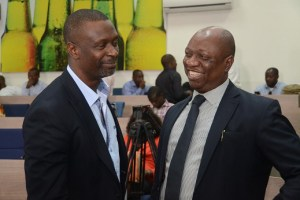 (L-R) Toks Modupe, Chief Consultnt, TPT International; and Patrick Olowokere, Corporate Communications/Brand PR Manager, Nigerian Breweries Plc