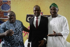 (L-R) Sikiru Ayinde Agboola (a.k.a SK Sensation), Chairman, National Project Committee of the Fuji Musicians Association of Nigeria; Emmanuel Agu, Portfolio Manager, Mainstream Lager & Stout Brands; Nigerian Breweries Plc; and Olawale Obadeyi, a notable Fuji analyst and Poet