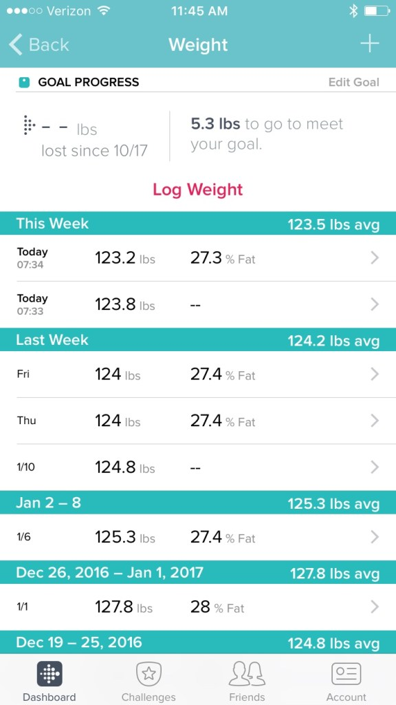 my weight on the fitbit aria