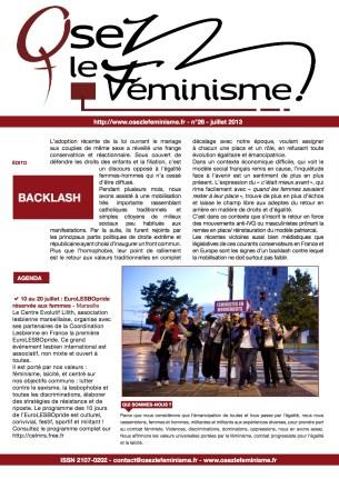 Journal 26 d'Osez le féminisme ! 21 Juillet 2013