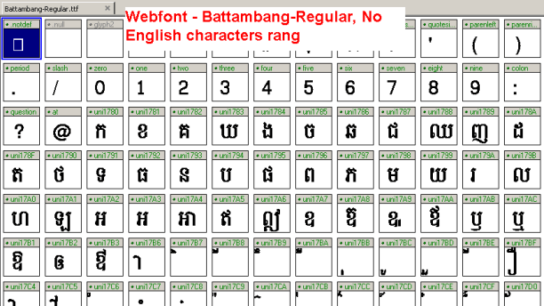 View Battambang Webfont on fontcreator