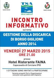 Venerdì 27 Marzo, ore 21, Incontro informativo: Gestione Borgo Giglione 2014