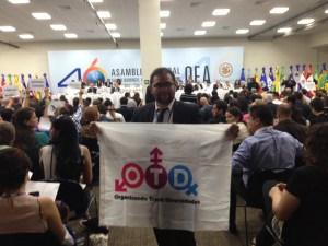 Le vice presidente de OTD Chile, Franco Fuica, en la 46 Asamblea de la OEA. Santo Domingo.