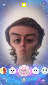 Snapchat Lenses - Alien Shaped Head In Space Snapchat Lens