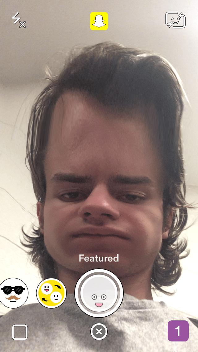 big forehead snapchat lens