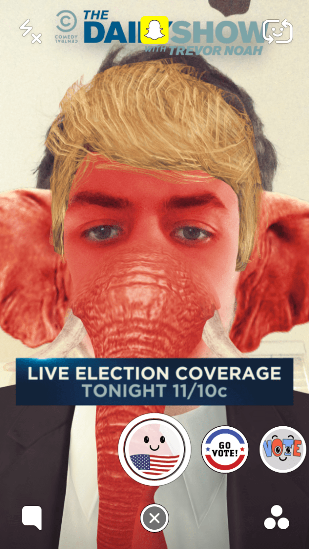 Donald Trump Red Elephant Election Day Snapchat Lens Filter