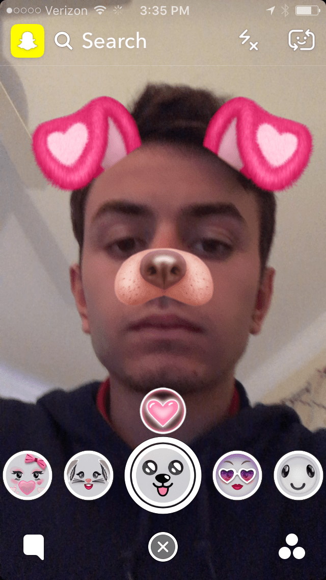 How To Get The Valentines Day Dog Snapchat Lens Filter - Dog With Heart Ears Filter
