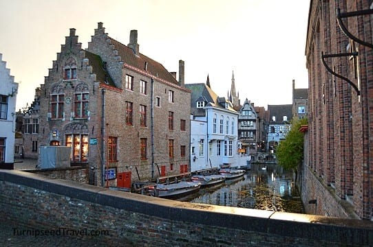 The canals of Bruges at dusk
